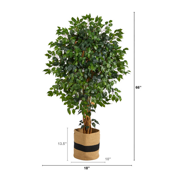 5.5 Palace Ficus Artificial Tree in Handmade Natural Cotton Planter - SKU #T2955 - 1