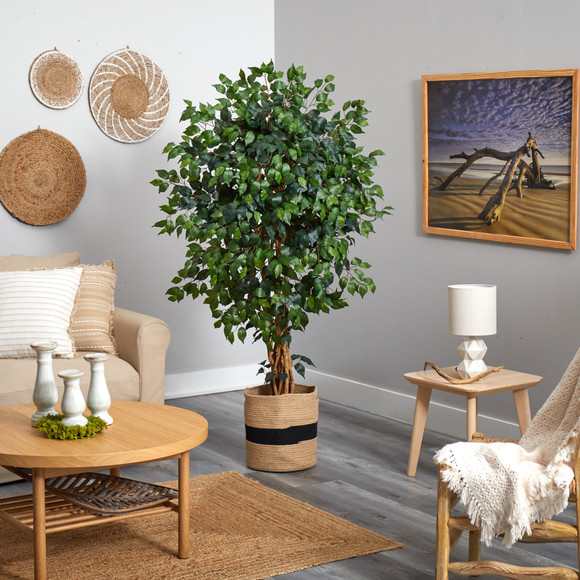 5.5 Palace Ficus Artificial Tree in Handmade Natural Cotton Planter - SKU #T2955 - 2