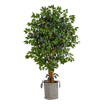 5.5 Palace Ficus Artificial Tree in Handmade Black and White Natural Jute and Cotton Planter - SKU #T2956