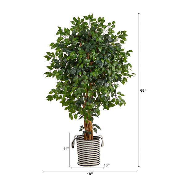 5.5 Palace Ficus Artificial Tree in Handmade Black and White Natural Jute and Cotton Planter - SKU #T2956 - 1