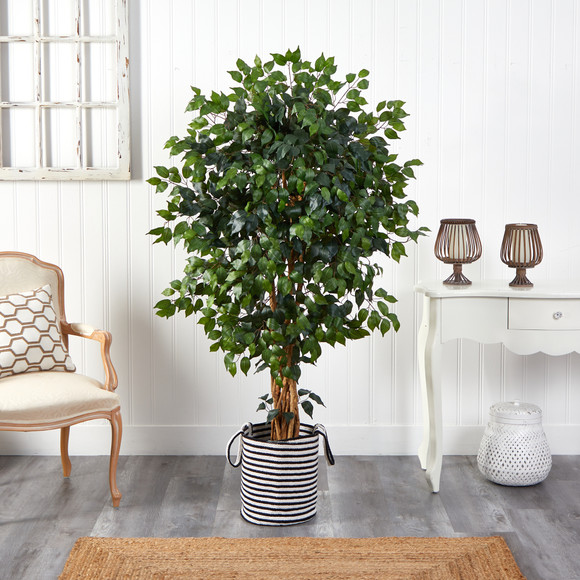 5.5 Palace Ficus Artificial Tree in Handmade Black and White Natural Jute and Cotton Planter - SKU #T2956 - 2