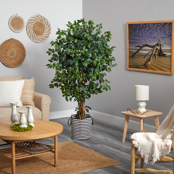 5.5 Palace Ficus Artificial Tree in Handmade Black and White Natural Jute and Cotton Planter - SKU #T2956 - 3