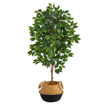 4 Ficus Artificial Tree in Boho Chic Handmade Cotton Jute Black Woven Planter - SKU #T2957