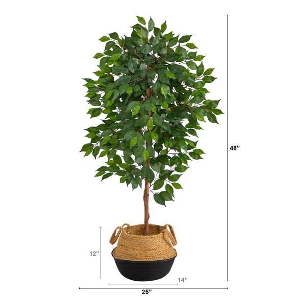 4 Ficus Artificial Tree in Boho Chic Handmade Cotton Jute Black Woven Planter - SKU #T2957 - 1
