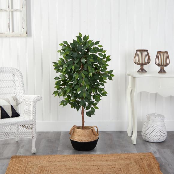 4 Ficus Artificial Tree in Boho Chic Handmade Cotton Jute Black Woven Planter - SKU #T2957 - 2