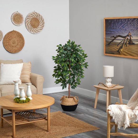 4 Ficus Artificial Tree in Boho Chic Handmade Cotton Jute Black Woven Planter - SKU #T2957 - 3