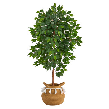 4 Ficus Artificial Tree in Boho Chic Handmade Natural Cotton Woven Planter with Tassels - SKU #T2958
