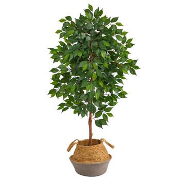 4 Ficus Artificial Tree in Boho Chic Handmade Cotton Jute Gray Woven Planter - SKU #T2959
