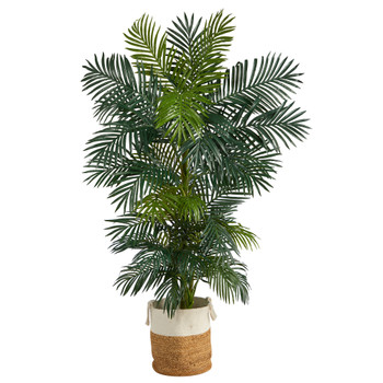 6.5 Golden Cane Artificial Palm Tree in Handmade Natural Jute and Cotton Planter - SKU #T2963