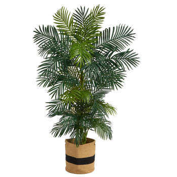 6.5 Golden Cane Artificial Palm Tree in Handmade Natural Cotton Planter - SKU #T2964