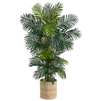 6.5 Golden Cane Artificial Palm Tree in Handmade Natural Cotton Multicolored Woven Planter - SKU #T2965