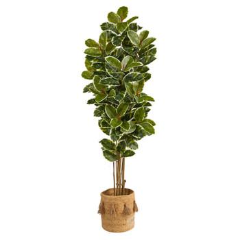 6 Oak Artificial Tree in Handmade Natural Jute Planter with Tassels UV Resistant Indoor/Outdoor - SKU #T2966