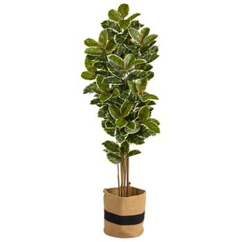 6 Oak Artificial Tree in Handmade Natural Cotton Planter UV Resistant Indoor/Outdoor - SKU #T2968
