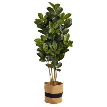 5.5 Oak Artificial Tree in Handmade Natural Cotton Planter UV Resistant Indoor/Outdoor - SKU #T2969