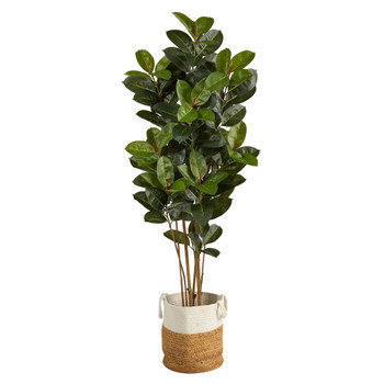 5.5 Oak Artificial Tree in Handmade Natural Jute and Cotton Planter UV Resistant Indoor/Outdoor - SKU #T2970