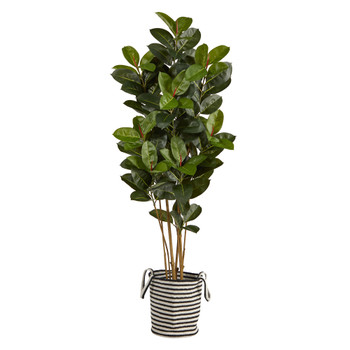 5.5 Oak Tree in Handmade Black and White Natural Jute and Cotton Planter UV Resistant - SKU #T2971