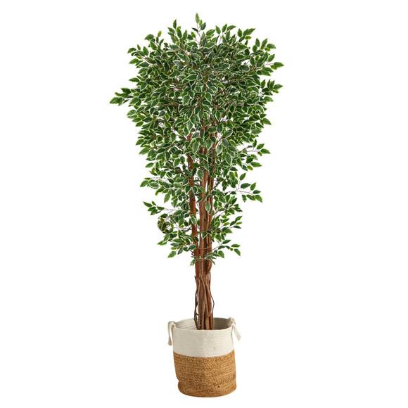 70 Variegated Ficus Tree in Handmade Jute and Cotton Planter UV Resistant Indoor/Outdoor - SKU #T2972