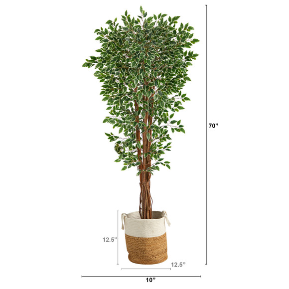 70 Variegated Ficus Tree in Handmade Jute and Cotton Planter UV Resistant Indoor/Outdoor - SKU #T2972 - 1