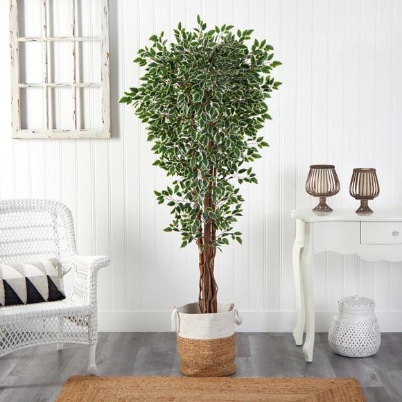 70 Variegated Ficus Tree in Handmade Jute and Cotton Planter UV Resistant Indoor/Outdoor - SKU #T2972 - 2
