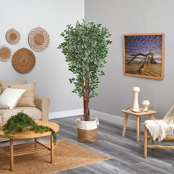 70 Variegated Ficus Tree in Handmade Jute and Cotton Planter UV Resistant Indoor/Outdoor - SKU #T2972 - 3