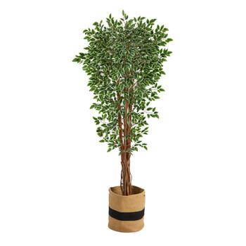 70 Variegated Ficus Artificial Tree in Handmade Natural Cotton Planter UV Resistant Indoor/Outdoor - SKU #T2973