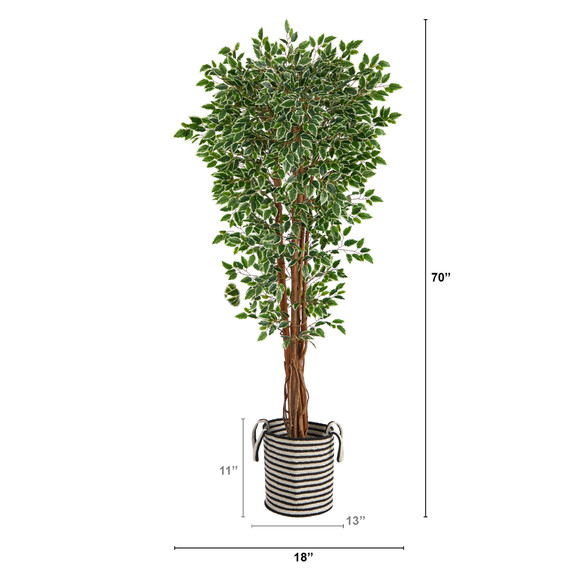 70 Variegated Ficus Tree in Handmade Black and White Natural Jute and Cotton Planter UV Resistant - SKU #T2974 - 1