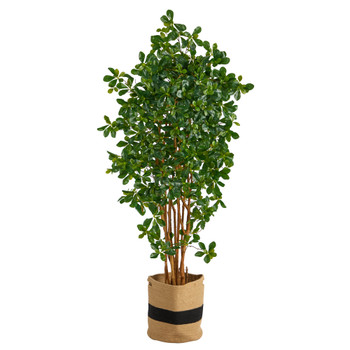 6 Black Olive Artificial Tree in Handmade Natural Cotton Planter - SKU #T2975