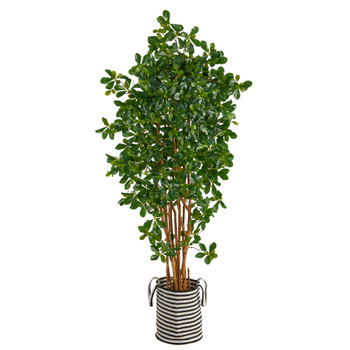 6 Black Olive Artificial Tree in Handmade Black and White Natural Jute and Cotton Planter - SKU #T2976
