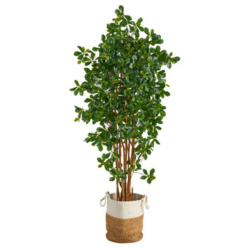 6 Black Olive Artificial Tree in Handmade Natural Jute and Cotton Planter - SKU #T2977