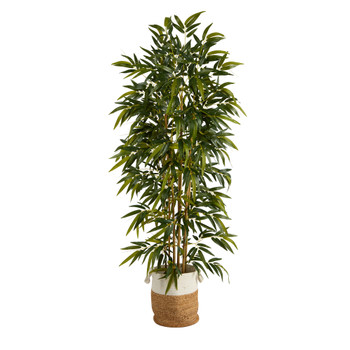75 Bamboo Artificial Tree in Handmade Natural Jute and Cotton Planter - SKU #T2979