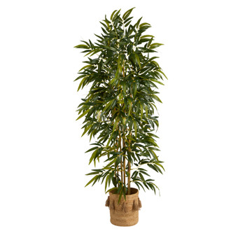 75 Bamboo Artificial Tree in Handmade Natural Jute Planter with Tassels - SKU #T2980