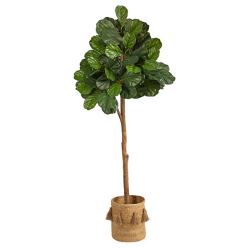 6 Fiddle Leaf Fig Artificial Tree in Handmade Natural Jute Planter with Tassels - SKU #T2981
