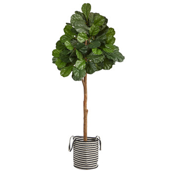 6 Fiddle Leaf Fig Artificial Tree in Handmade Black and White Natural Jute and Cotton Planter - SKU #T2982