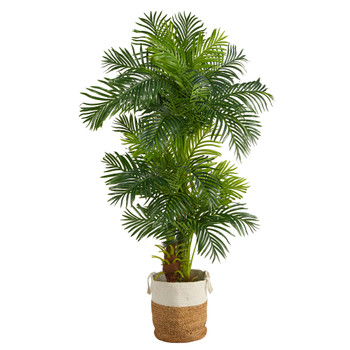 6 Hawaii Artificial Palm Tree in Handmade Natural Jute and Cotton Planter - SKU #T2985