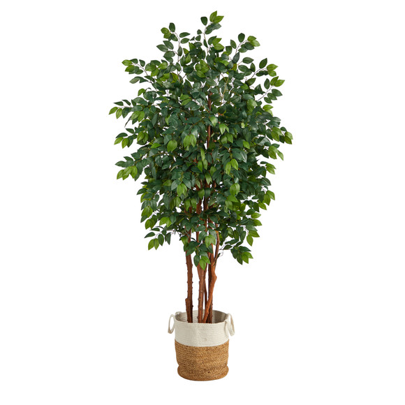 7 Sakaki Artificial Tree in Handmade Natural Jute and Cotton Planter - SKU #T2987