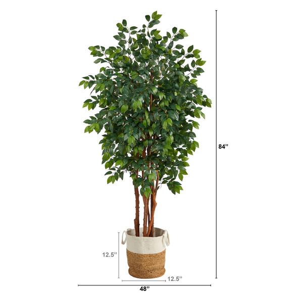 7 Sakaki Artificial Tree in Handmade Natural Jute and Cotton Planter - SKU #T2987 - 1