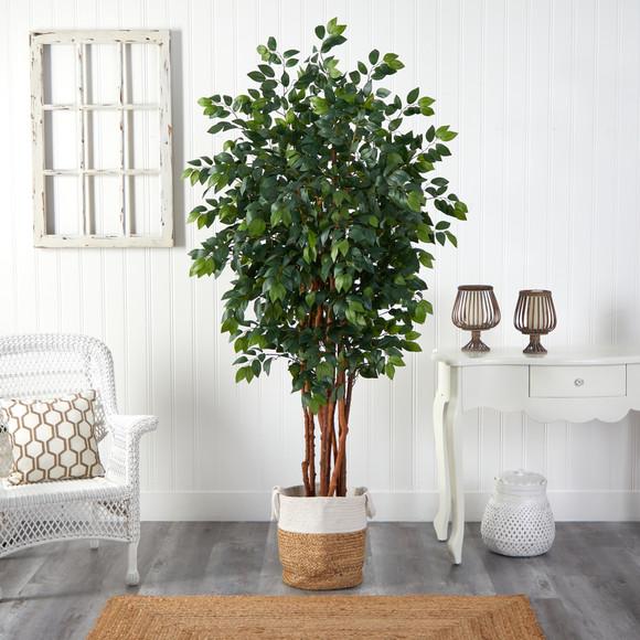 7 Sakaki Artificial Tree in Handmade Natural Jute and Cotton Planter - SKU #T2987 - 2