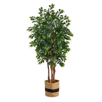 7 Sakaki Artificial Tree in Handmade Natural Cotton Planter - SKU #T2988