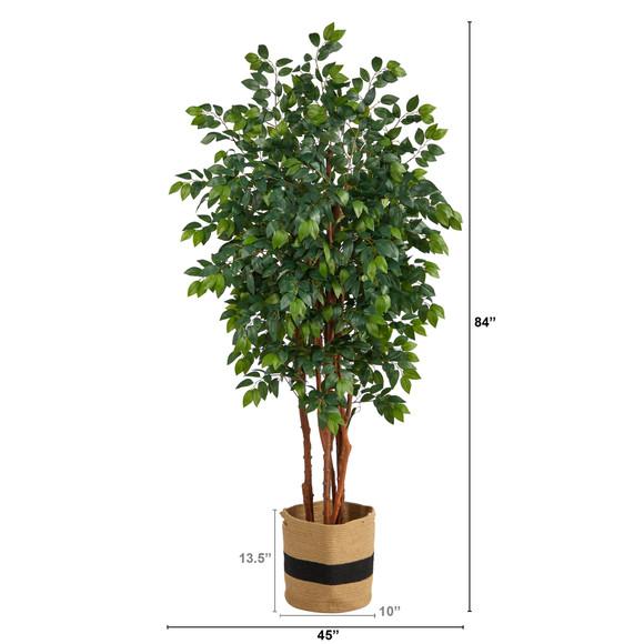 7 Sakaki Artificial Tree in Handmade Natural Cotton Planter - SKU #T2988 - 1
