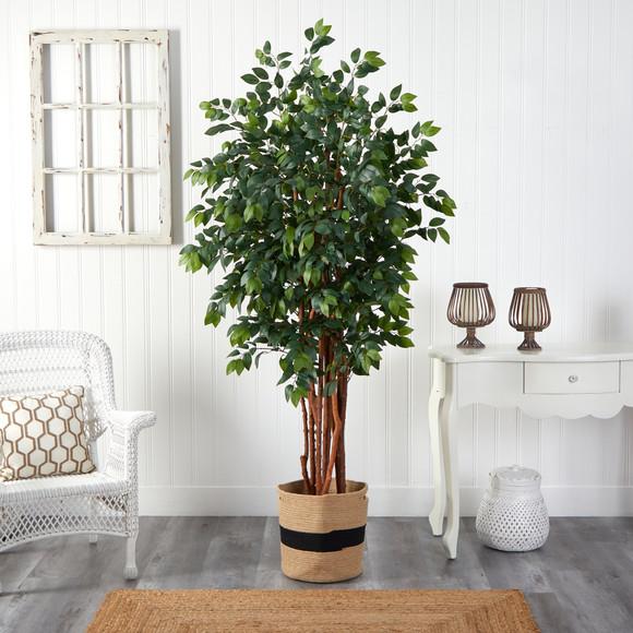 7 Sakaki Artificial Tree in Handmade Natural Cotton Planter - SKU #T2988 - 2