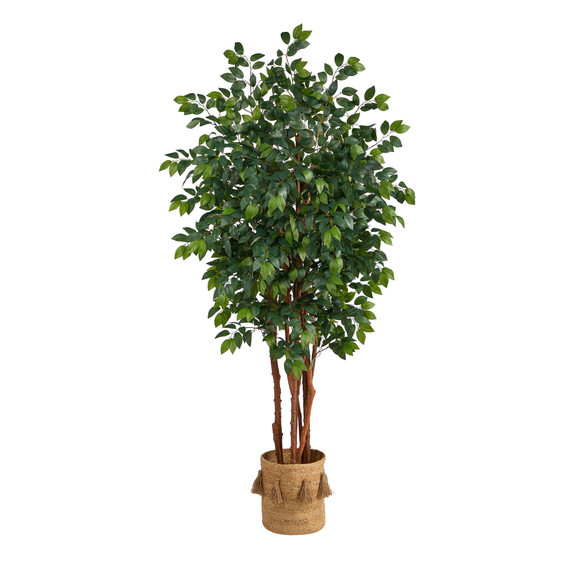 7 Sakaki Artificial Tree in Handmade Natural Jute Planter with Tassels - SKU #T2989