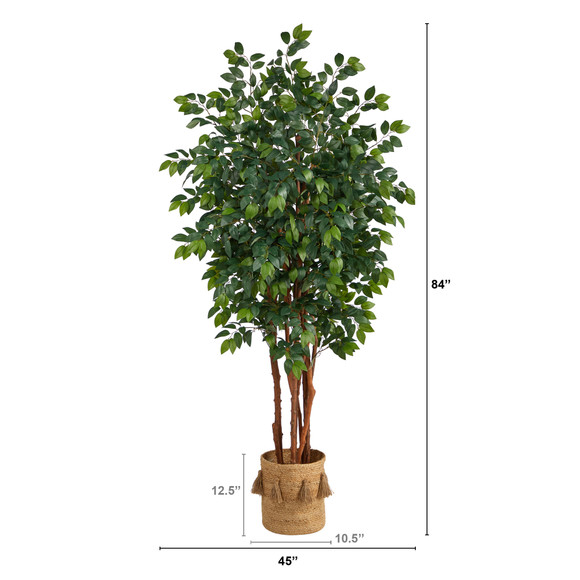 7 Sakaki Artificial Tree in Handmade Natural Jute Planter with Tassels - SKU #T2989 - 1