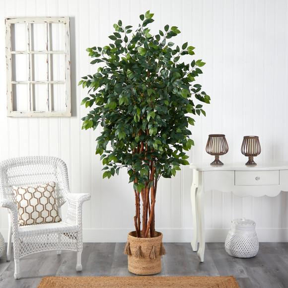 7 Sakaki Artificial Tree in Handmade Natural Jute Planter with Tassels - SKU #T2989 - 2