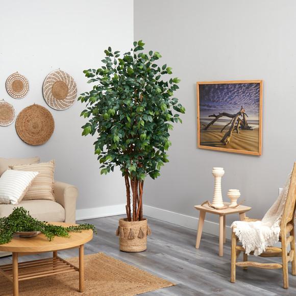 7 Sakaki Artificial Tree in Handmade Natural Jute Planter with Tassels - SKU #T2989 - 3