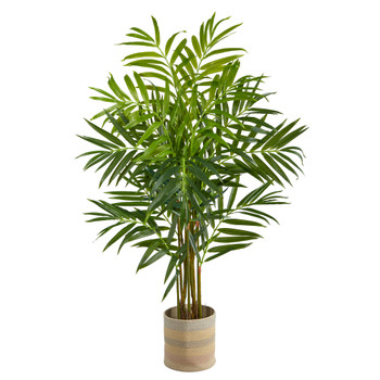 8 King Palm Artificial Tree in Handmade Natural Cotton Multicolored Woven Planter - SKU #T2990