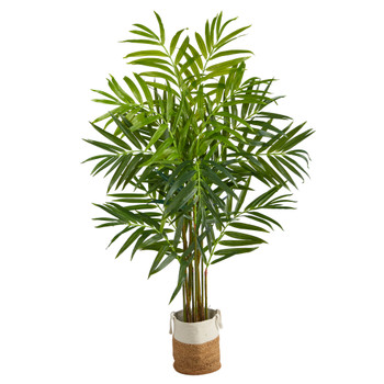 8 King Palm Artificial Tree with 12 Bendable Branches in Handmade Natural Jute and Cotton Planter - SKU #T2991