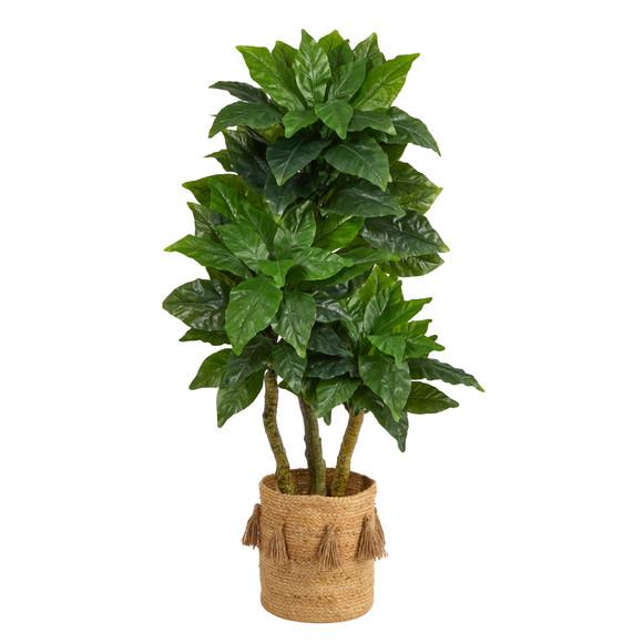 5 Bird Nest Tree in Handmade Natural Jute Planter with Tassels UV Resistant Indoor/Outdoor - SKU #T2993