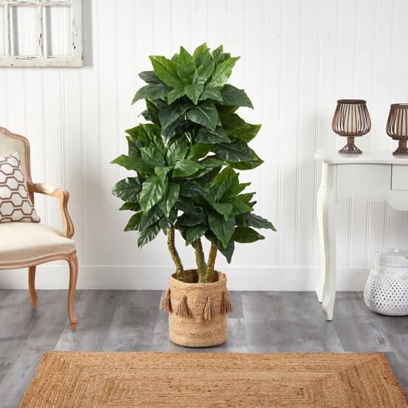 5 Bird Nest Tree in Handmade Natural Jute Planter with Tassels UV Resistant Indoor/Outdoor - SKU #T2993 - 2