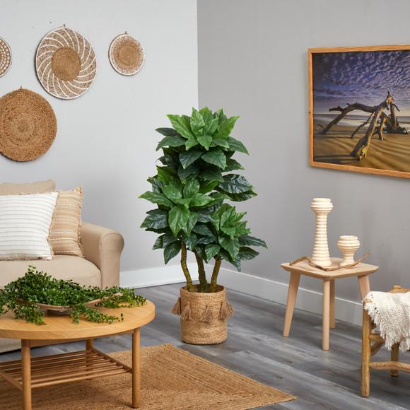 5 Bird Nest Tree in Handmade Natural Jute Planter with Tassels UV Resistant Indoor/Outdoor - SKU #T2993 - 3