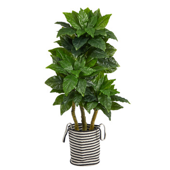 5 Bird Nest Tree in Handmade Black and White Natural Jute and Cotton Planter UV Resistant - SKU #T2994